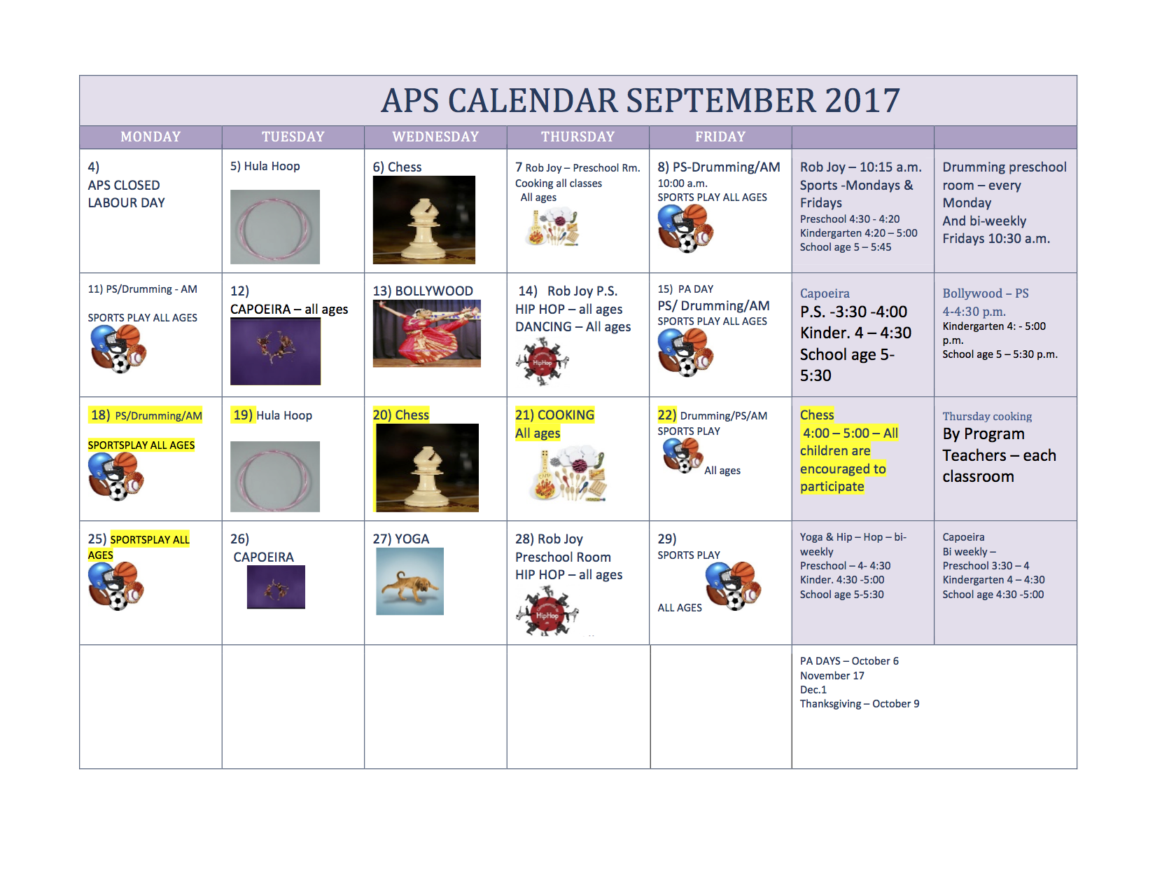 Calendar for September 2017