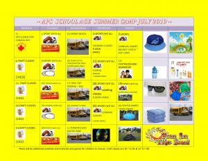 SCHOOL AGE SUMMER CAMP CALENDAR JULY 2019-1